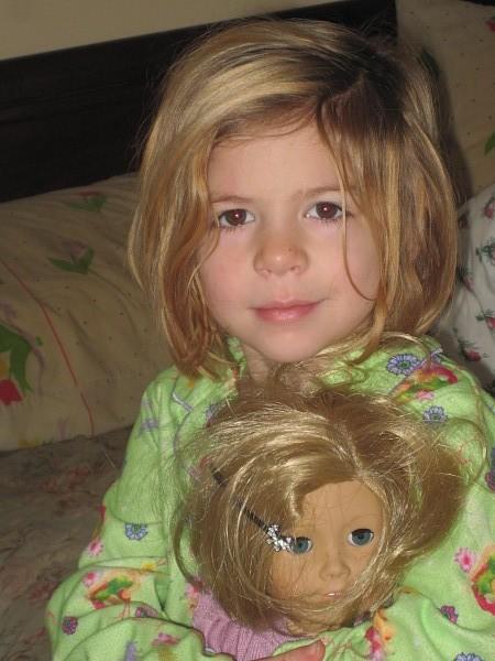 "Selena with her twin dolly ""Kitt"""
