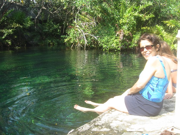 Cenote water is so cool and refreshing