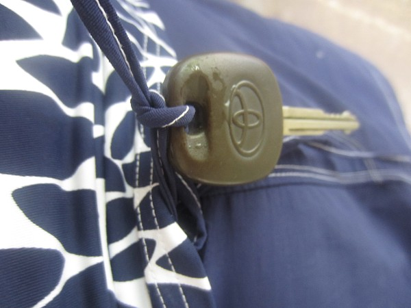 My cool invention to not lose my key -tie it to my bathing suit
